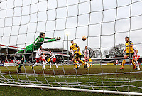 Ricky Holmes of Northampton Town (behind 19) scores his team's third goal to make it 2-3 during the Sky Bet League 2 match between Stevenage and Northampton Town at the Lamex Stadium, Stevenage, England on 19 March 2016. Photo by David Horn / PRiME Media Images.