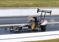 May 16, 2015; Commerce, GA, USA; NHRA top fuel driver Shawn Langdon during qualifying for the Southern Nationals at Atlanta Dragway. Mandatory Credit: Mark J. Rebilas-USA TODAY Sports