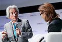 (L to R) Japan's former Prime Minister Junichiro Koizumi and rock star Yoshiki of X JAPAN, speak during the second day of the New Economy Summit (NEST 2017) on April 7, 2017, Tokyo, Japan. The annual summit brings together global entrepreneurs and innovators for a two-day event in Tokyo. (Photo by Rodrigo Reyes Marin/AFLO)