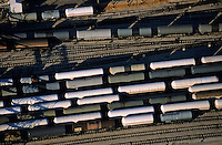 Carriages of freight trains on a commercial railway.