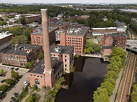 Dorchester Lower Mills, Baker Chocolate factory, Boston, MA aerial