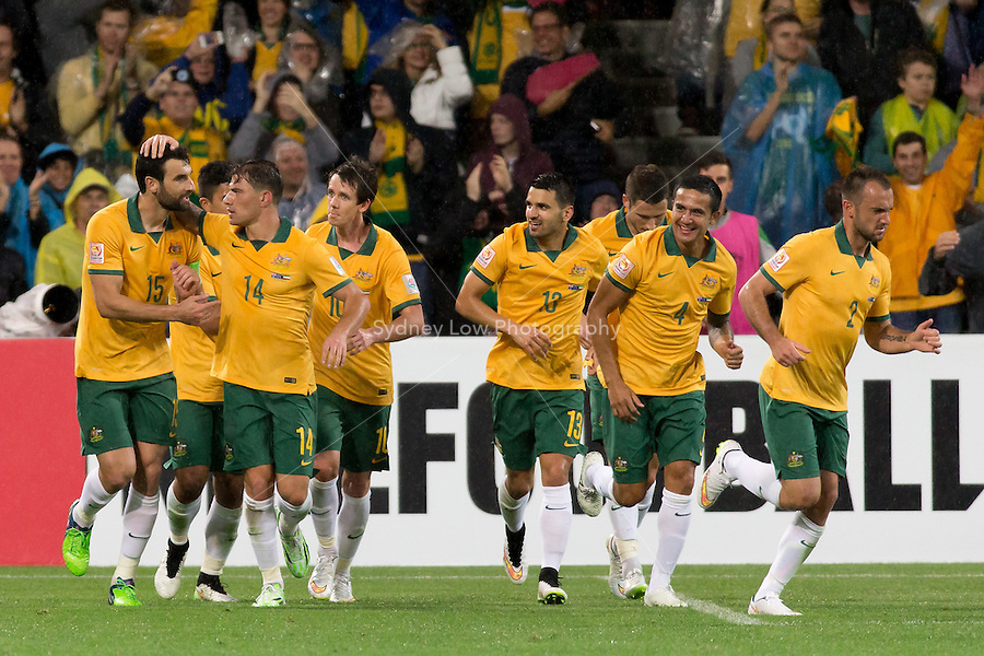 Mile JEDINAK of Australia celebrates his goal in match 1 of the 2015 AFC Asian Cup at the Melbourne Rectangular Stadium on 9 January 2015. Australia def Kuwait 4-1