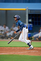 GCL Rays Johan Lopez (44) bats during a Gulf Coast League game against the GCL Pirates on August 7, 2019 at Charlotte Sports Park in Port Charlotte, Florida.  GCL Rays defeated the GCL Pirates 5-3 in the second game of a doubleheader.  (Mike Janes/Four Seam Images)