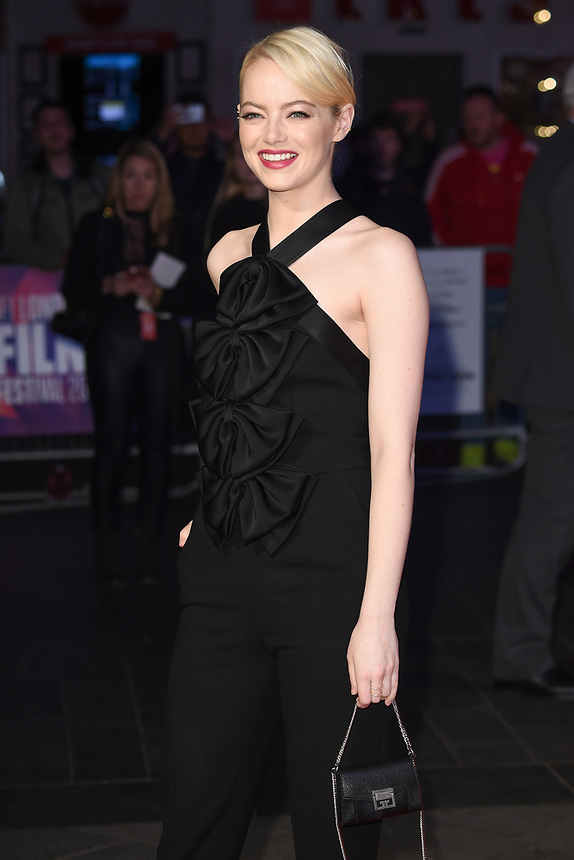 "Emma Stone<br /> arriving for the London Film Festival 2017 screening of ""Killing of a Sacred Deer"" at Odeon Leicester Square, London<br /> <br /> <br /> ©Ash Knotek  D3332  12/10/2017"