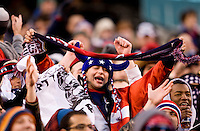 A United States fan welcomes their team onto the field before an international friendly at New Meadowlands Stadium in East Rutherford, NJ.  The United States tied Argentina, 1-1.