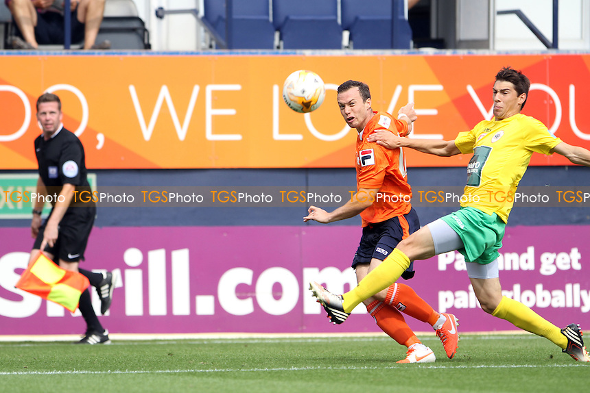 Shaun Whalley (Luton Town) crosses the ball - Luton Town vs Royal Antwerp - Pre-Season Friendly Football Match at Kenilworth Road, Luton, Bedfordshire - 26/07/14 - MANDATORY CREDIT: Mick Kearns/TGSPHOTO - Self billing applies where appropriate - contact@tgsphoto.co.uk - NO UNPAID USE