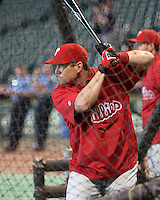 Philadelphia Phillies OF Geoff Jenkins on Thursday May 22nd at Minute Maid Park in Houston, Texas. Photo by Andrew Woolley / Four Seam Images.
