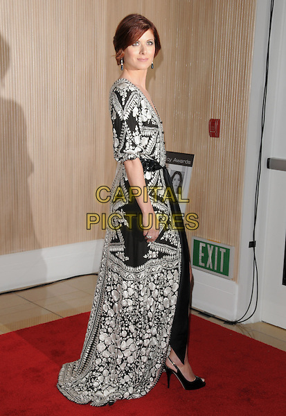 "DEBRA MESSING .The 2008 Crystal & Lucy Awards ""A Black & White Gala"" held at The Beverly Hilton Hotel in Beverly Hills, California, USA..June 17th, 2008          .full length black white pattern dress robe  waist sash clutch bag .CAP/DVS.©Debbie VanStory/Capital Pictures."