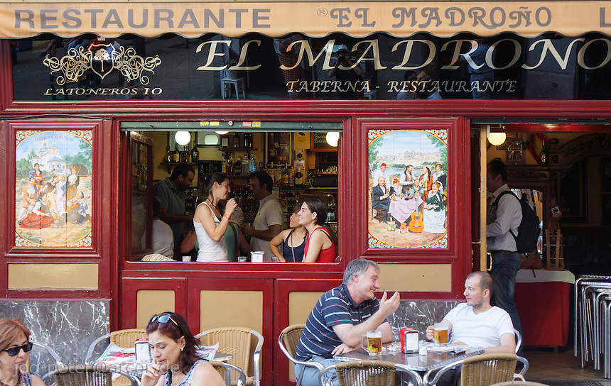 catching a relaxed moment in a typical restaurant in Madrid