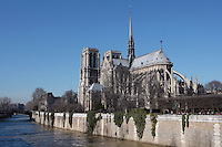 PARIS, FRANCE - FEBRUARY 08 : A general view of Notre Dame de Paris from Quai de Montebello, on February 08, 2008 in Ile de la Cite, Paris, France. The cathedral was initiated by the bishop Maurice de Sully in 1163 and was completed in 1345. (Photo by Manuel Cohen)