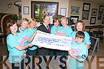 Suzanne Boyle, who raised ?1,870 for Saint John's Cancer Ward, Our Lady's Children's Hospital Crumlin. Suzanne held a coffee day and clothes sale at her house in Caherslee with the help of her friends. Pictured, presenting the cheque in the Mall Tavern on Thursday. From left: Caroline O'Carroll, Siobhain O'Nualláin, Rose O'Keeffe (volunteer, Crumlin Hospital), Jerry Cully (Crumlin Hospital), Jane Hurley, Suzanne Boyle, Anne O'Riordan and Adam Peevers.