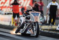 Mar. 30, 2012; Las Vegas, NV, USA: NHRA top Harley rider Devin XXXX during qualifying for the Summitracing.com Nationals at The Strip in Las Vegas. Mandatory Credit: Mark J. Rebilas-