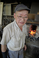 75 year old Takahashi Ichiro, owner of the Takahashi knife workshop.The company makes cooking knives for the shop in Tsukiji fish market. He was an apprentice for 13 years learning his trade before opening his own workshop...