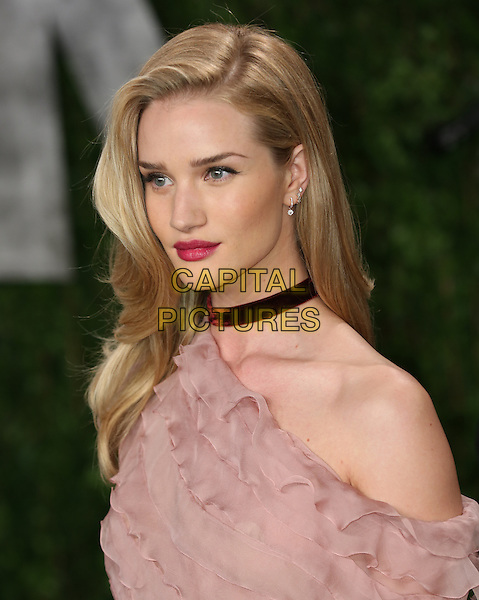 Rosie Huntington-Whiteley.2013 Vanity Fair Oscar Party following the 85th Academy Awards held at the Sunset Tower Hotel, West Hollywood, California, USA..February 24th, 2013.oscars headshot portrait pink off the shoulder sheer stripe layered layers frills  collar choker necklace  lipstick red .CAP/ADM/SLP/DOW.©Dowling/StarlitePics/AdMedia/Capital Pictures