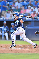 Asheville Tourists third baseman Matt McLaughlin (5) swings at a pitch during a game against the Hickory Crawdads at McCormick Field on August 16, 2018 in Asheville, North Carolina. The Crawdads defeated the Tourists 3-0. (Tony Farlow/Four Seam Images)