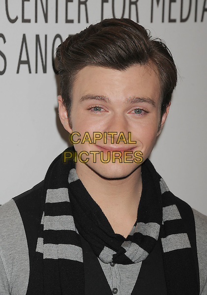 "CHRIS COLFER.The PaleyFest for ""Glee"" at the Saban Theatre in The Paley Center for Media in Beverly Hills, California, USA..March 16th, 2011.portrait headshot grey gray black scarf .CAP/ROT/TM.© TM/Roth/Capital Pictures"