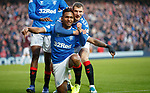 01.12.2019 Rangers v Hearts: Alfredo Morelos celebrates his goal with Borna Barisic