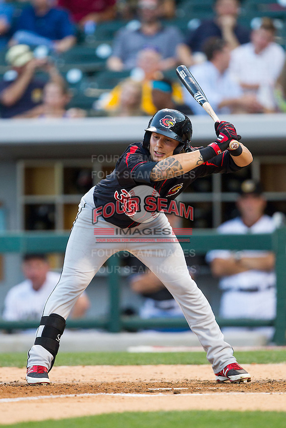 Daniel Ortiz (39) of the Rochester Red Wings gets out of the way of an inside pitch during the game against the Charlotte Knights at BB&T Ballpark on June 5, 2014 in Charlotte, North Carolina.  The Knights defeated the Red Wings 7-6.  (Brian Westerholt/Four Seam Images)