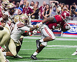 Florida State's Derwin James (3) attempts to stop Alabama running back Damien Harris on his way into the end zone in the second half of the Chick-fil-A Kickoff game at the new Mercedes-Benz Stadium in Atlanta, Georgia on September 2, 2017. Alabama defeated Florida State 24-7.  Photo by Mark Wallheiser/UPI