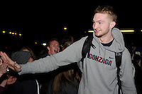 Feb 28, 2015; Spokane, WA, USA; Gonzaga Bulldogs forward Domantas Sabonis greets fans after returning home from a game against the Duke Blue Devils at the McCarthey Athletic Center. Mandatory Credit: James Snook-USA TODAY Sports