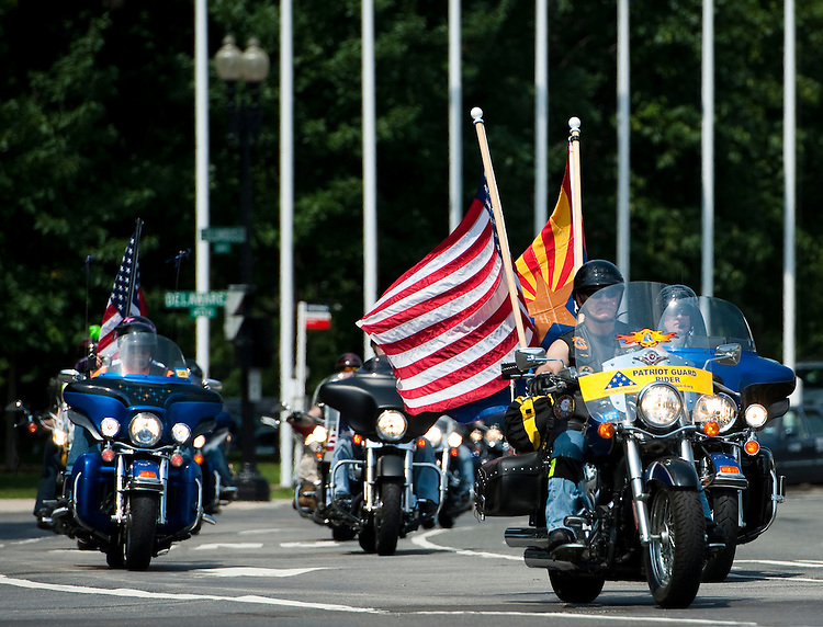UNITED STATES - MAY 27: Motorcyclists wind around Columbus Circle by Union Station as the 1st annual Stars & Stripes & Spokes motorcycle rally and musical festival kicks off for Memorial Day weekend on Friday, May 27, 2011. The bikers were heading from their kick-off rally to the RFK Stadium Festival Grounds. Rep. Allen West, R-Fla., and Congressional staffer Amanda Sapir, of Rep. Gabrielle Gifford's office were scheduled to ride with the group. (Photo By Bill Clark/Roll Call)