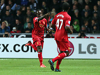 Pictured: Victor Moses (L) of Liverpool celebrating his goal, making the score 1-2. Monday 16 September 2013<br /> Re: Barclay's Premier League, Swansea City FC v Liverpool at the Liberty Stadium, south Wales.