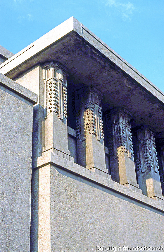 F.L. Wright: Unity Temple, exterior.  Photo '76.