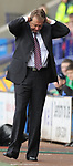 Alana Curbishley West Ham manager holds his head in frustration during the Premier League match at the Reebok Stadium, Bolton. Picture date 12th April 2008. Picture credit should read: Simon Bellis/Sportimage