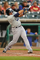 Rob Brantly #6 of the New Orleans Zephyrs swings against the Iowa Cubs at Principal Park on July  24, 2014 in Des Moines, Iowa. The Cubs won 11-2.   (Dennis Hubbard/Four Seam Images)