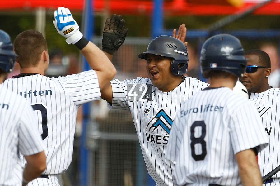 03 September 2011: Team Vaessen Pioniers celebrates during game 1 of the 2011 Holland Series won 5-4 in inning number 14 by L&D Amsterdam Pirates over Vaessen Pioniers, in Hoofddorp, Netherlands.