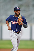 New Hampshire Fisher Cats Richard Urena (4) jogs to the dugout during a game against the Altoona Curve on May 11, 2017 at Peoples Natural Gas Field in Altoona, Pennsylvania.  Altoona defeated New Hampshire 4-3.  (Mike Janes/Four Seam Images)