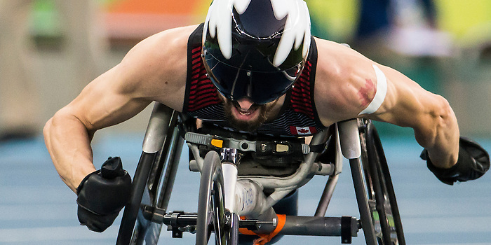RIO DE JANEIRO - 17/9/2016:  Brent Lakatos competes in the men's 4x400 relay final at the Olympic Stadium during the Rio 2016 Paralympic Games. (Photo by Dave Holland/Canadian Paralympic Committee).