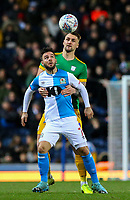 Blackburn Rovers' Adam Armstrong shields the ball from Preston North End's Patrick Bauer<br /> <br /> Photographer Alex Dodd/CameraSport<br /> <br /> The EFL Sky Bet Championship - Blackburn Rovers v Preston North End - Saturday 11th January 2020 - Ewood Park - Blackburn<br /> <br /> World Copyright © 2020 CameraSport. All rights reserved. 43 Linden Ave. Countesthorpe. Leicester. England. LE8 5PG - Tel: +44 (0) 116 277 4147 - admin@camerasport.com - www.camerasport.com