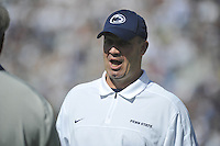 15 September 2012:  Penn State coach Bill O'Brien jokes with an assistant coach during warm ups. The Penn State Nittany Lions defeated the Navy Midshipmen 34-7 at Beaver Stadium in State College, PA.