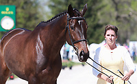 LEXINGTON, KY - April 26, 2017. #22  Mettraise and Erin Sylvester from the USA at the Rolex Three Day Event First Horse Inspection at the Kentucky Horse Park.  Lexington, Kentucky. (Photo by Candice Chavez/Eclipse Sportswire/Getty Images)