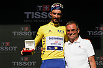 Yellow Jersey Julian Alaphilippe (FRA) Deceuninck-Quick Step blitzes the field winning Stage 13 of the 2019 Tour de France, presented with a Tissot watch by cycling legend Bernard Hinault (FRA) ASO, an individual time trial running 27.2km from Pau to Pau, France. 19th July 2019.<br /> Picture: Colin Flockton | Cyclefile<br /> All photos usage must carry mandatory copyright credit (© Cyclefile | Colin Flockton)