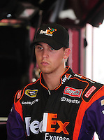 Feb 9, 2008; Daytona, FL, USA; Nascar Sprint Cup Series driver Denny Hamlin (11) during practice for the Daytona 500 at Daytona International Speedway. Mandatory Credit: Mark J. Rebilas-US PRESSWIRE