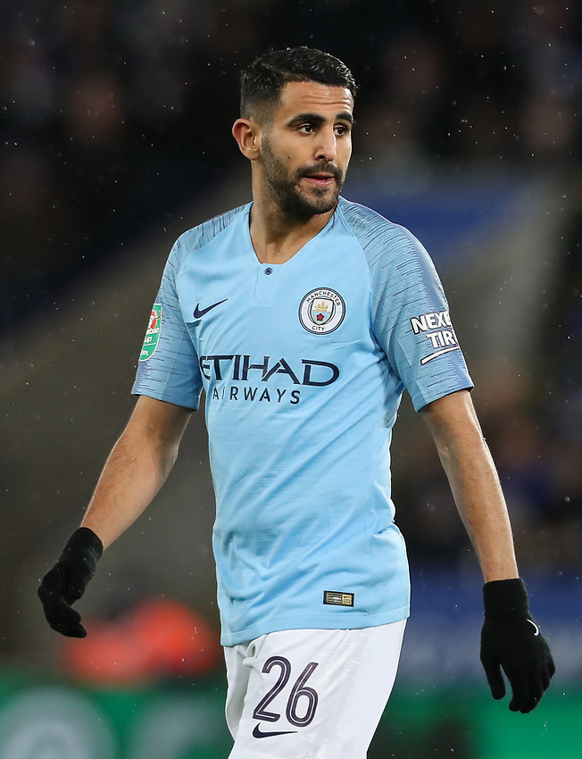 Manchester City's Riyad Mahrez <br /> <br /> Photographer Andrew Kearns/CameraSport<br /> <br /> English League Cup - Carabao Cup Quarter Final - Leicester City v Manchester City - Tuesday 18th December 2018 - King Power Stadium - Leicester<br />  <br /> World Copyright © 2018 CameraSport. All rights reserved. 43 Linden Ave. Countesthorpe. Leicester. England. LE8 5PG - Tel: +44 (0) 116 277 4147 - admin@camerasport.com - www.camerasport.com