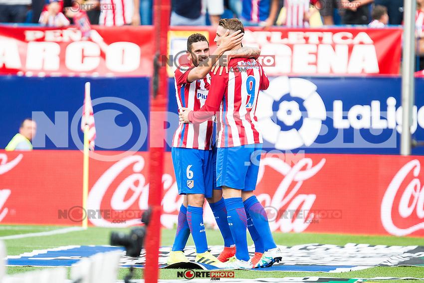 Atletico de Madrid's player Fernando Torres and Koke Resurrección celebrating a goal during a match of La Liga Santander at Vicente Calderon Stadium in Madrid. September 17, Spain. 2016. (ALTERPHOTOS/BorjaB.Hojas) /NORTEPHOTO
