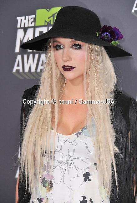 KeSha - Ke S ha arriving at the MTV Movie Awards 2013 on the Sony Studio Lot in Los Angeles.