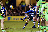 Josh Lewis of Bath Rugby kicks for touch. Aviva Premiership match, between Bath Rugby and Northampton Saints on February 9, 2018 at the Recreation Ground in Bath, England. Photo by: Rogan Thomson /JMP for Onside Images
