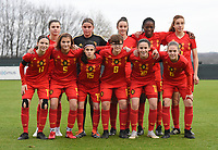 20181205 - TUBIZE , BELGIUM : Belgian team with Maude Lecocq (17   Manola Galofaro (15)   Estee Cattoor (11)   Mam Beny Bangoura (9)   Karlijn Helsen (8)   Valesca Ampoorter (6)   Melissa Tom (5)   Auke Swevers (4)   Loredana Humartus (3)   Mirthe Claes (12)   Marie Detruyer (10)   pictured during the friendly female soccer match between Women under 15 teams of  Belgium and Gemany , in Tubize , Belgium . Wednesday 5 th December 2018 . PHOTO SPORTPIX.BE / DIRK VUYLSTEKE