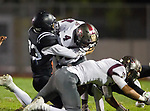 Lawndale, CA 09/29/17 - Joseph Edwards (Lawndale #23) and Ethan Meyers (Torrance #4) in action during the Torrance vs Lawndale CIF Varsity football game at Lawndale High School.   Lawndale defeated Torrance 42-0.
