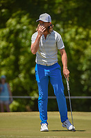 Tommy Fleetwood (ENG) reacts to barely missing a birdie putt on 1 during Round 4 of the Zurich Classic of New Orl, TPC Louisiana, Avondale, Louisiana, USA. 4/29/2018.<br /> Picture: Golffile | Ken Murray<br /> <br /> <br /> All photo usage must carry mandatory copyright credit (&copy; Golffile | Ken Murray)