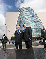 07/09/2010.Chairman of the Convention Centre Dermot Dwyer &  Taoiseach Brian Cowen TD . at the opening of the Convention Centre in Spencers Dock,  Dublin..Photo: Gareth Chaney Collins