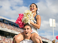 Annapolis, MD - October 7, 2017: Navy Midshipmen cheerleaders in action during the game between Air Force and Navy at  Navy-Marine Corps Memorial Stadium in Annapolis, MD.   (Photo by Elliott Brown/Media Images International)
