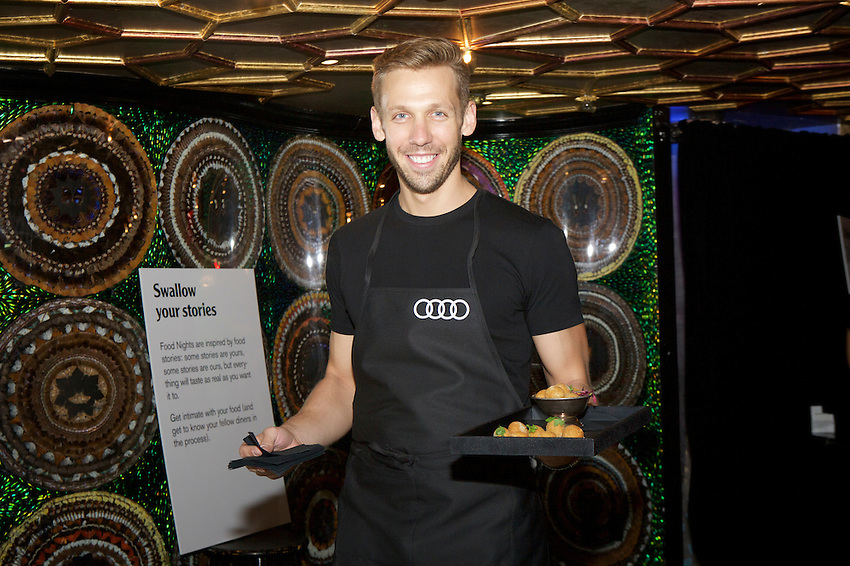 New York, NY - June 10, 2016: The VIP reception and IN THE MOUTH - An Experiential dinner - mark the opening for the Food Loves Tech Festival at Diamond Horseshoe near Times Square.<br /> <br /> CREDIT: Clay Williams for Edible Manhattan.<br /> <br /> &copy; Clay Williams / claywilliamsphoto.com