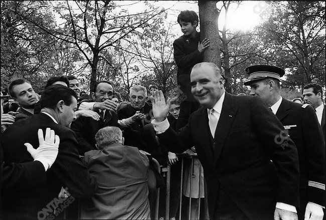 French President Georges Pompidou at Armistice Day commemoration of WWI, near the Arc de Triomphe, Paris, France, November 11, 1969