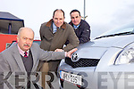 NEW REGISTRATION: Tom O'Connor, Tim Kelliher and Jerry O'Sullivan of Kelliher's Garage in Tralee, which is reporting a steady interest in new cars so far this year.