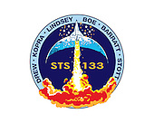 The STS-133 mission patch is based upon sketches from the late artist Robert McCall; they were the final creations of his long and prodigious career. In the foreground, a solitary orbiter ascends into a dark blue sky above a roiling fiery plume. A spray of stars surrounds the orbiter and a top lit crescent forms the background behind the ascent. The mission number, STS-133, is emblazoned on the patch center, and crewmembers' names are listed on a sky-blue border around the scene. The Shuttle Discovery is depicted ascending on a plume of flame as if it is just beginning a mission. However it is just the orbiter, without boosters or an external tank, as it would be at mission's end. This is to signify Discovery's completion of its operational life and the beginning of its new role as a symbol of NASA's and the nation's proud legacy in human spaceflight. The NASA insignia design for shuttle and space station flights is reserved for use by the astronauts and for other official use as the NASA Administrator may authorize. Public availability has been approved only in the form of illustrations by the various news media. When and if there is any change in this policy, which is not anticipated, it will be publicly announced. .Credit: NASA or National Aeronautics and Space Administration